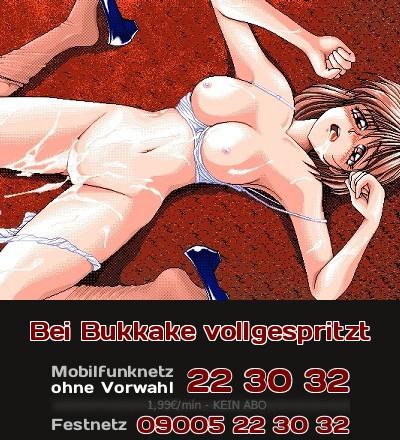 Von allen Seiten mit Sperma vollgespritztes Manga-Girl liegt ermattet auf dem Boden.