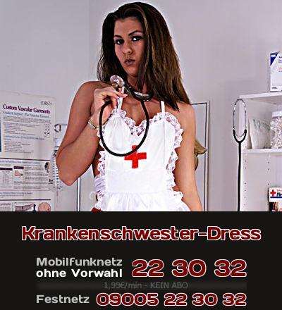 Sexy Krankenschwester in einer Art Uniform will mir Dir Telefonsex machen.