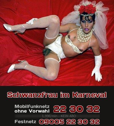 Was willst Du im Karneval noch mehr, als unter der Tarnung Deiner Verkleidung total verrückte Sachen auszuprobieren? Wie wäre da Sex mit einer Schwanzfrau?