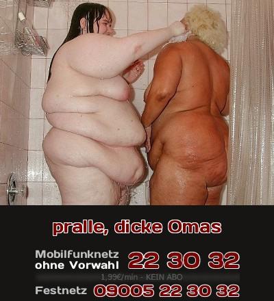 Die Oma unter der Dusche, gleich mit ihrer fetten Pfegerin zusammen. Das ist Telefonsex für Liebhaber von Dicken Omas!